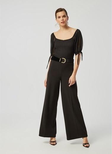 Monamoda Yanı Fermuarlı Likralı Bol Pantolon Siyah